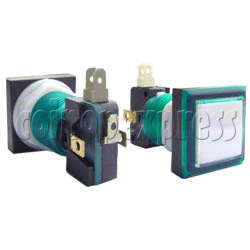 33mm Square Illuminated Push Button - Color Body with White Top