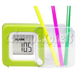 Mini LCD Digital Alarm Clock with Folding Penholder