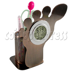 LCD Digital Alarm Clock in Foot Shaped with Pen Holder