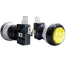 33mm Round Illuminated Push Button - Black Body with Color Top