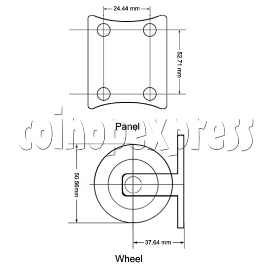 """2"""" Light Duty Nylon Wheel (without break) 12828"""
