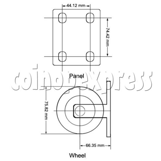 "3"" Heavy Duty Polyurethane Wheel (without brake) 12840"