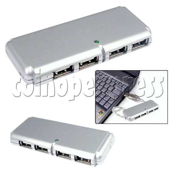 4 Ports External Slim Mini USB Hub 19388