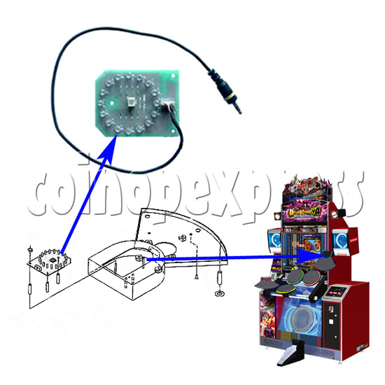 Blue LED PCB for Cymbal Pad 21279