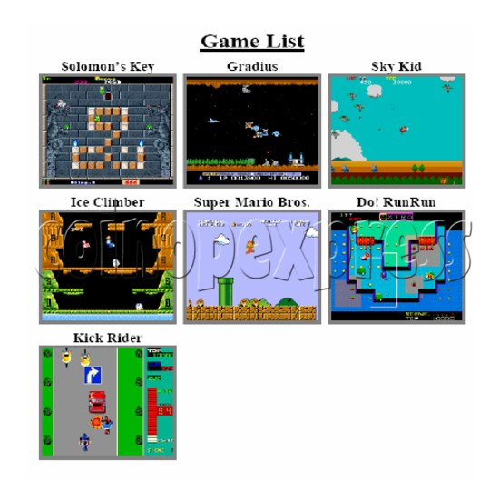 Multi Games 19 in 1 PCB -game list 2