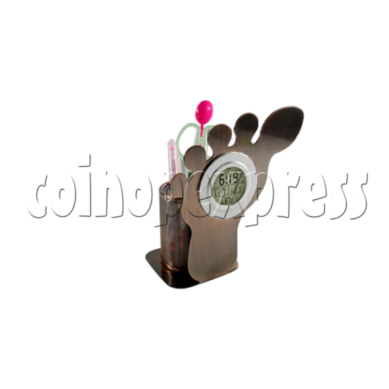 LCD Digital Alarm Clock in Foot Shaped with Pen Holder 26935