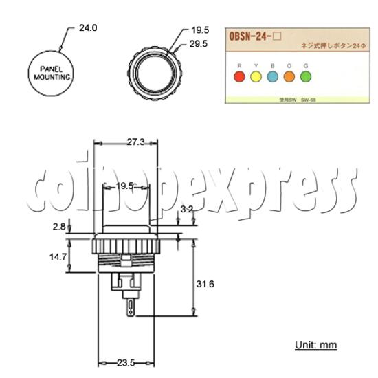 Sanwa Button (OBSN-24) 28621