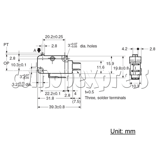 Omron Microswitch for illumination-type push button (D2MV-01-1C2) 28845