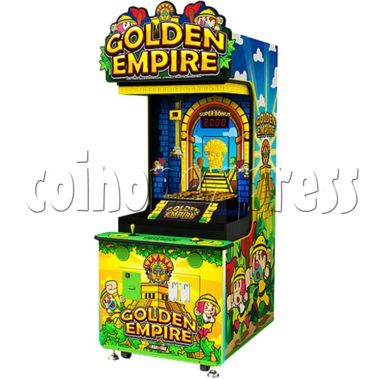 Golden Empire Coin Pusher Ticket Redemption Arcade Machine - angle view