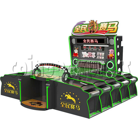 Multiplayer Horse Racing Arcade Game machine 10 players - angle view