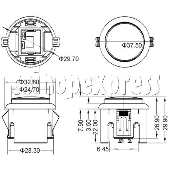 30mm Round Momentary Contact Push Button with Clipper 36057