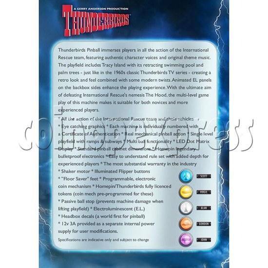 Thunderbirds Pinball Arcade Game Machine 36257