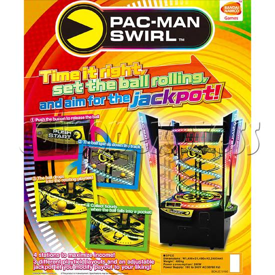 Pacman Swirl Ball Drop Redemption Game Machine ( 4 players) 36782