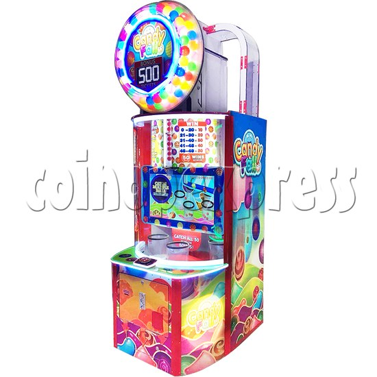 Candy Fall Skill Test Ticket Redemption Arcade Machine - angle view