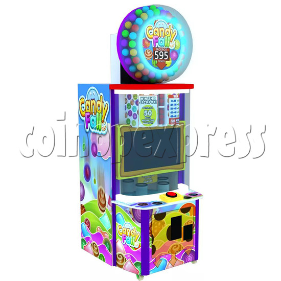 Candy Fall Skill Test Ticket Redemption Arcade Machine - left view
