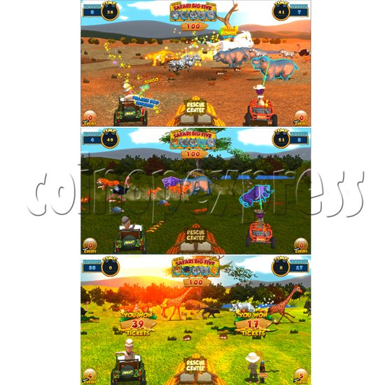 Safari Ranger 4 Player Ticket Redemption Game Machine - screen display 1