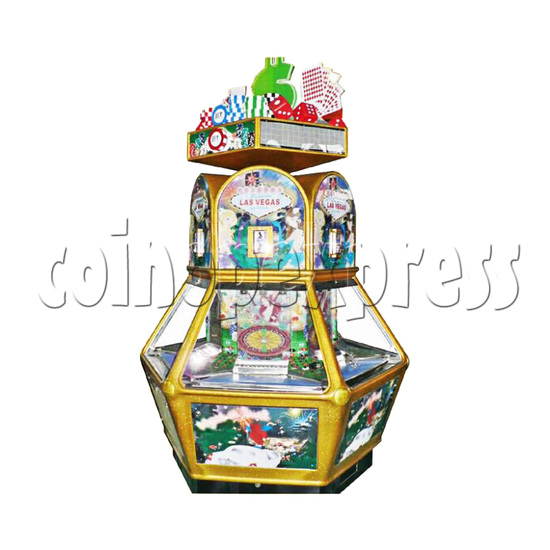 Las Vegas Coin Pusher Ticket Redemption Arcade Machine 6 Players - angle view
