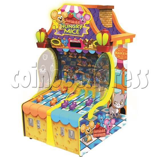 """Hungry Mice Ticket Redemption Arcade Machine with 43"""" Screen - angle view"""