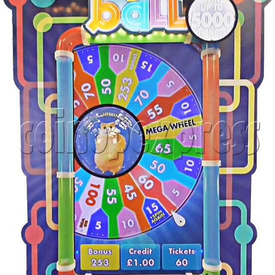 Hamster's ball Ticket Redemption Arcade Game - playfield