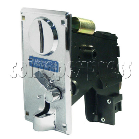 Coin Acceptor - plastic mechanical front drop - angle view