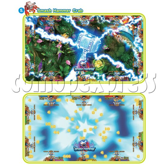 IGS Ocean King 3 Plus: King Kong's Rampage Full Game Board Kit - smash hammer crab