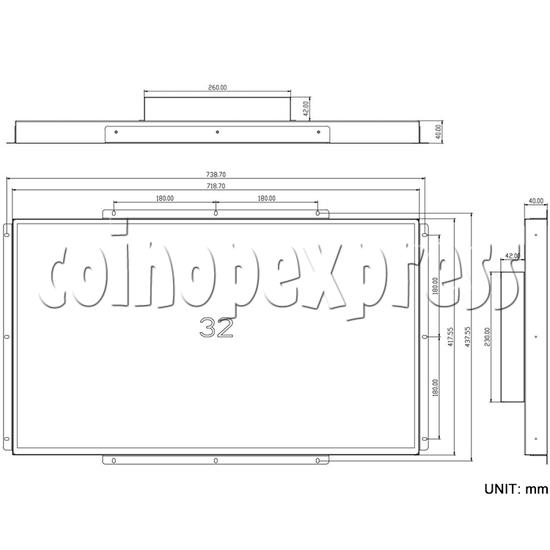 32 inch Arcade LCD Monitor BOE 1080P dimensions