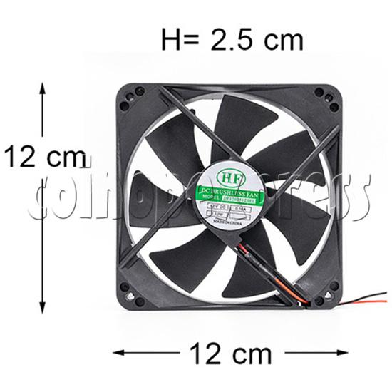 12volt Arcade Brushless Cooling Fan 12 x 12cm diagram