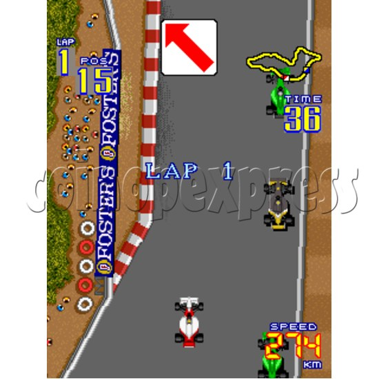 F1 Grand Prix Arcade Game Boards-game play